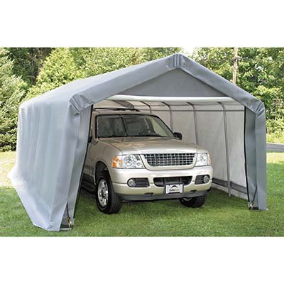 ShelterLogic Peak Style Shelter, 1-3/8-Inch 6-Rib Frame, 12-Feet × 20-Feet × 8-Feet, Grey, Outdoor Stuffs