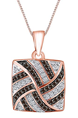0.26 Carat Round Brown & White Natural Diamond Intertwine Pendant Necklace 10K Solid Rose Gold