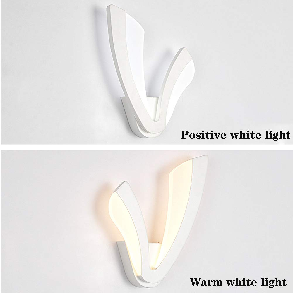 Blanca L/ámpara de Pared Decorativa con luz de Noche FK MGL L/ámpara de Pared de Fondo con Forma de V Simple Dormitorio de acr/ílico LED L/ámpara de Pared Decorativa,Whitelight