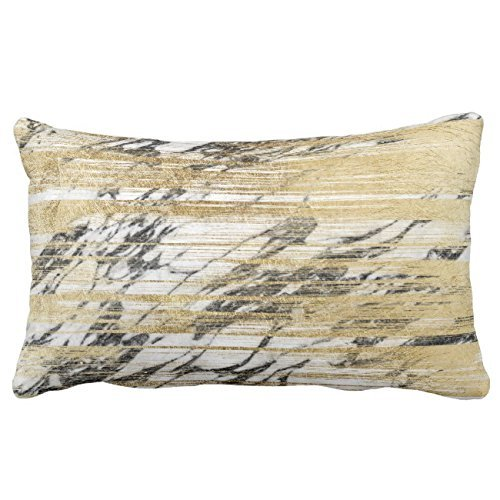 (UTF4C Chic Gold Brushstrokes on Black White Marble Lumbar Throw Pillow Case Square 12 x 16 Inches Soft Cotton Canvas, Pillow Cover Decorative for Sofa Couch Hidden Zipper)