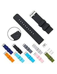 CIVO Quick Release Silicone Watch Bands Soft Rubber Watch Strap Smart Watch Band Stainless Steel Buckle 18mm 20mm 22mm (Black, 22mm)
