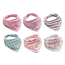 Bestbaby Baby Bandana Drool Bibs - 6 Packs Unisex Super Absorbent Cotton Modern Baby Gift Set for Girls