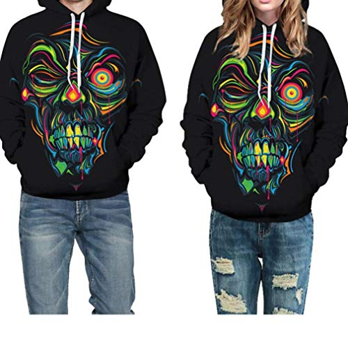 iQKA Halloween Costume Women Men Scary Skeleton Blood 3D Print Hoodie Sweatshirt Top(H,XXL/XXXL) ()