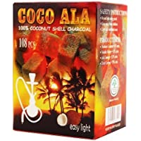 108 Pcs Coco Ala Charcoal %100 Natural Organic Coconut Hookah Shisha Coal Hookah Coals