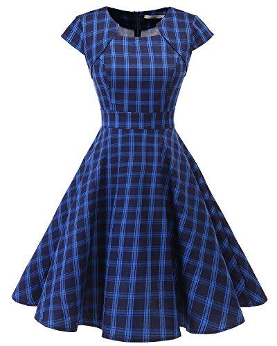 Homrain Women's 1950s Retro Vintage A-Line Cap Sleeve Cocktail Swing Party Dress Navy Blue Plaid 2XL]()