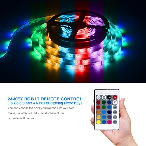 Led Strip Lights 5M/16.4 Ft SMD 3528 RGB 300 LEDs Color Changing Kit Waterproof, LED Ribbon for Home/Kitchen Lighting Strips Power Adapter Included by DAYBETTER (Image #3)