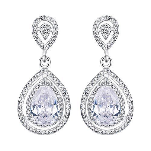 EVER FAITH Silver-Tone Wedding Teardrop Classic Earrings Clear CZ Crystal
