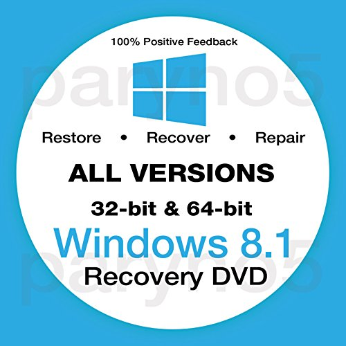 Windows 8.1 Reinstall Recovery Repair Reset Boot Fix Install Disk 64 & 32 bit Systems - All Brands (Dell, HP, etc) w/Printed Instructions & Support