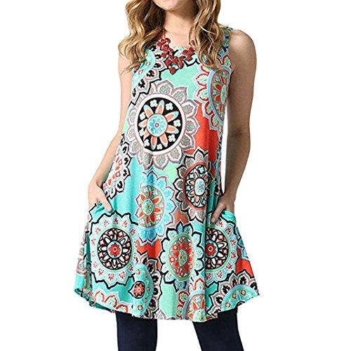 ❤️ Vestido Floral de la Playa de la Fiesta de Tarde del Verano Boho Maxi de Las Mujeres del Verano Absolute Verde