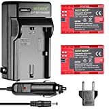 Neewer 2-Pack 2000mAh Canon LP-E6 Replacement Li-ion Battery (Red) and Charger with US/EU Plug,Car Charger Adapter for Canon EOS 5D Mark II III VI 60D 7D 70D 80D Cameras,BG-E14 BG-E6 BG-E16 BG-E9 Grip