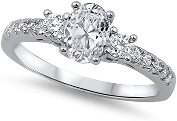 Color Options, Sizes 3-15 CloseoutWarehouse Cubic Zirconia Journey Tiara Ring Sterling Silver