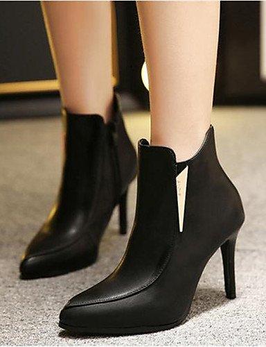Puntiagudos Gray Eu39 Xzz Gris Mujer Uk6 Casual Zapatos De Stiletto Semicuero Negro Botas Cn39 us8 Tacón OwPXqTw
