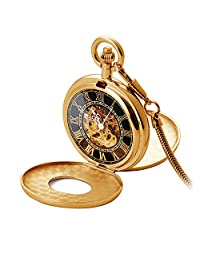 Male Mechanical Watch Cover Hollow Cover Double Open Cover Pocket Watch Double Open Cover Retro Table Student Necklace Watch Waterproof Chain Pocket Watch,Gold,Hollow
