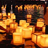10X Chinese Square Paper Wishing Floating Water River Candle Lanterns Lamp