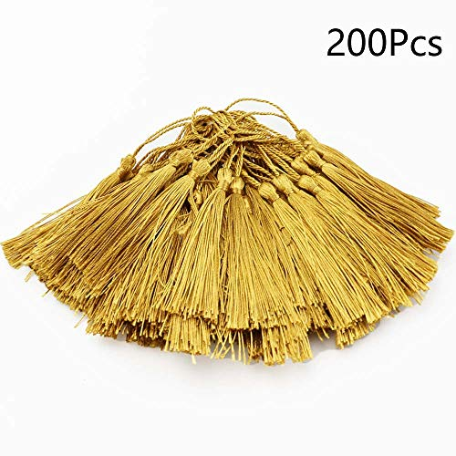 fairy maker 200Pcs Gold Tassels for Handmade Craft Accessory, 5.4X 0.2 x 0.2