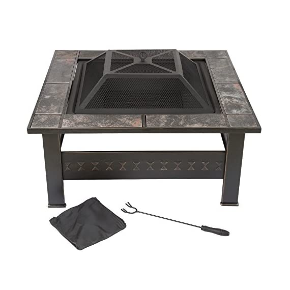 "Fire Pit Set, Wood Burning Pit -Includes Screen, Cover and Log Poker- Great for Outdoor and Patio, 32 Inch"" Marble Tile Square Firepit by Pure Garden - ULTIMATE OUTDOOR RELAXATION - This Outdoor Fire Pit is an ideal blend of contemporary modern design, natural elements, and a unique pattern with beautiful marble tile with antique bronze accents. Create lasting memories with family and friends while enjoying a cozy fire. Enjoy roasting s'mores with kids or an adult evening bon fire. The fire pit is sure to be a vivid focal point on your patio or deck for many seasons to come! DURABLE DESIGN- Enjoy your tile wood burning Fire Pit without worry. Made from powder coated steel to resist rust, this fire pit is lightweight and weatherproof for longer lasting outdoor use. The steel leg construction and decorative sturdy design will have long lasting appeal and would be a charming addition to your yard or patio. LOW MAINTENANCE AND EASY SET UP- The Pure Garden Fire Pit is easy to set up and requires very little upkeep. Wood burning for convenient heating. Clean the outside with a slightly damp cloth. No chemicals or cleaning product required. - patio, outdoor-decor, fire-pits-outdoor-fireplaces - 516EUcfjLRL. SS570  -"