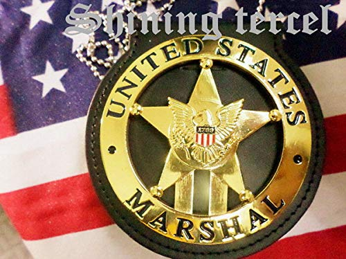 Shining Tercel - Obsolete Gold Five-Pointed Star 1789 U.S Marshal TV Series/Movie Prop pin Back with Belt Clip Leather Holder and Neck Chain ()