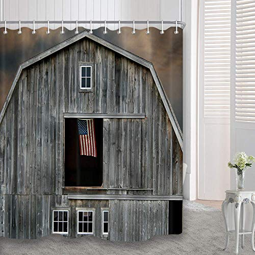 - DYNH Farmhouse Shower Curtain, American Flag Flying in a Window of Wooden House, Waterproof Polyester Fabric Bathroom Decor, Bath Curtains Accessories, with Hooks, 69X70 Inches