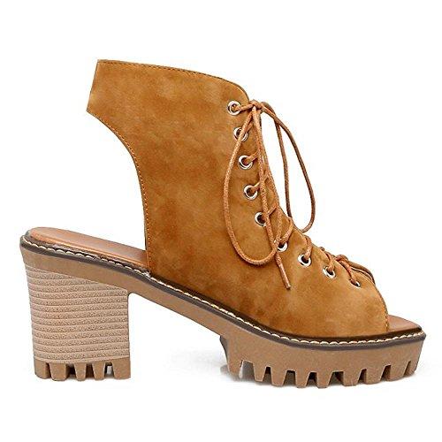 COOLCEPT Mujer Moda Cordones Sandalias Punta Abierta Tacon Ancho Talon Abierto Zapatos Amarillo