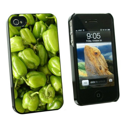 Graphics and More Green Bell Peppers Vegetables - Snap On Hard Protective Case for Apple iPhone 4 4S - Black - Carrying Case - Non-Retail Packaging - Black