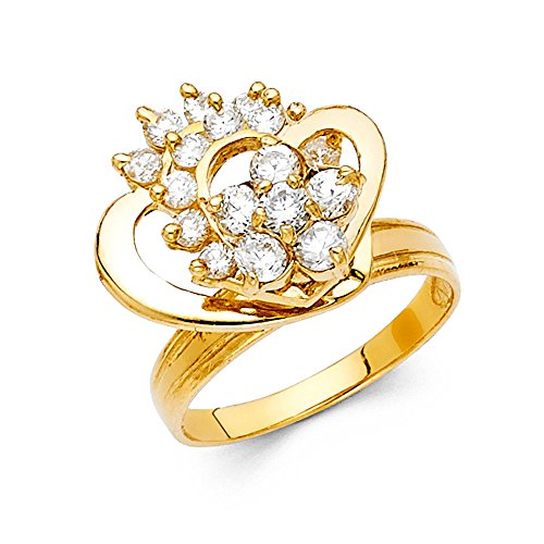 Ioka - 14K Yellow Solid Gold Cubic Zirconia CZ Heart Motion Ring - size 9 - Yellow Gold Spinning Ring