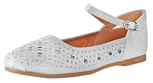 Little Angel - Britt Dress Flats for Girls | Round Toe | Flats | Adjustable Ankle Strap | Comfortable Flats | Holiday Shoe | Toddler | Infant | Off White Glitter US 9
