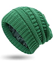 Muryobao Womens Winter Warm Knitted Hat Satin Silk Lined Cable Knit Beanie Chunky Slouchy Skull Cap