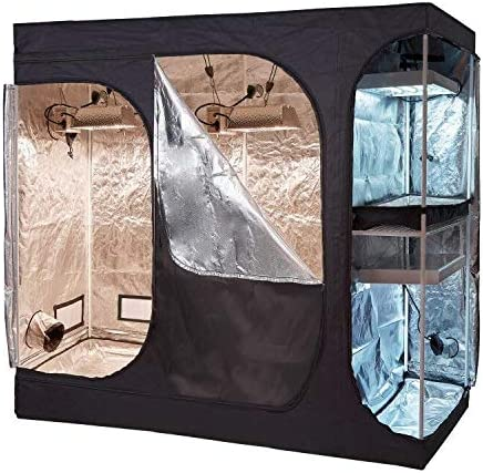 Oppolite 108 x48 x80 2-in-1 Hydroponic Indoor Grow Tent Room Propagation High Reflective 600D Diamond Mylar Growing Plant w Metal Corner