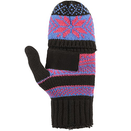 Isotoner Women's Chunky Solid Cable Knit Flip Top Gloves with Sherpa Soft Lining, Black Laser, One Size