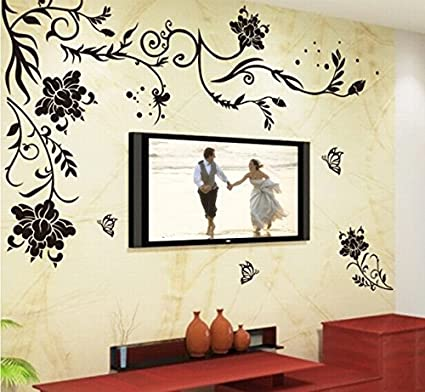 buy black flower vine butterfly wall stickers home decor rooms