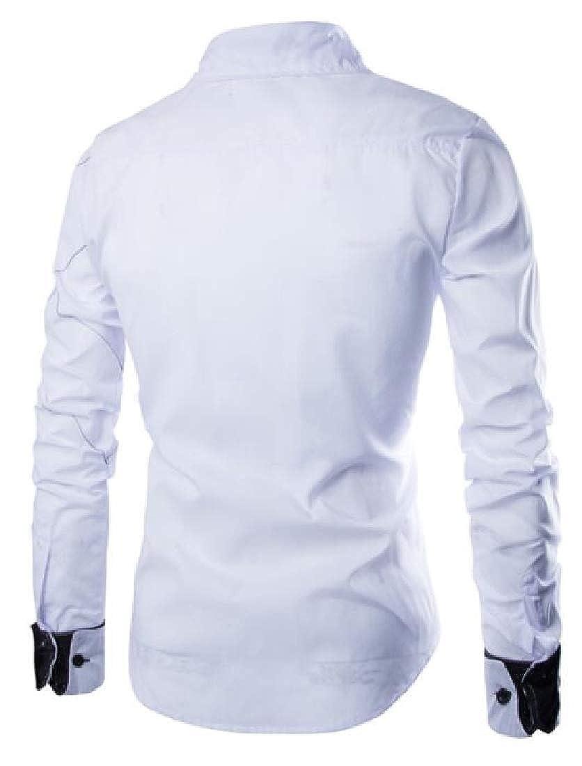 Joe Wenko Men Simple Button Down Plaid Slim Long Sleeve Shirts