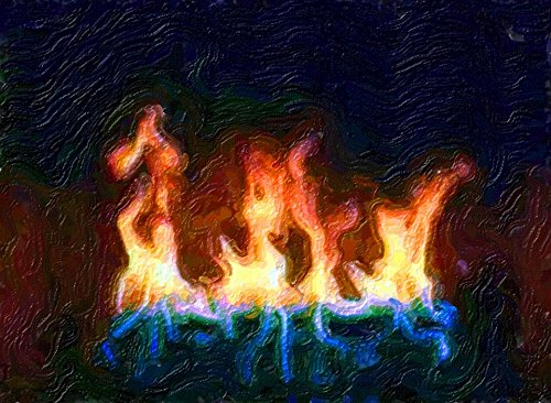 Home Comforts LAMINATED POSTER Flames Blazing Fire Painting Fireplace Art Blaze Poster by Home Comforts
