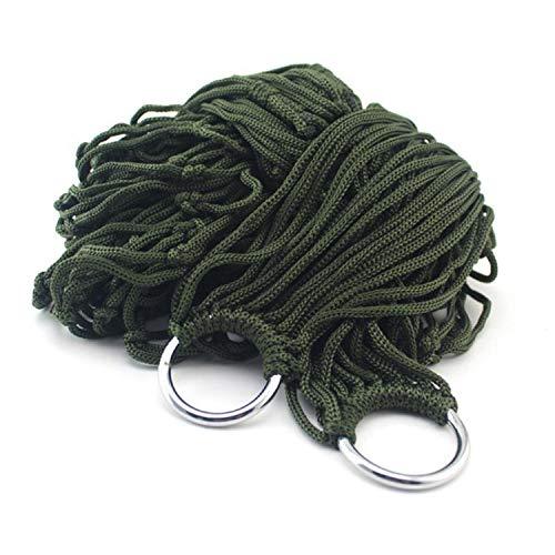 m Outdoor Hammock 9 Strands Nylon Rope Mesh Hammock Portable Leisure Swing Hanging Nap Bed,Army Green ()