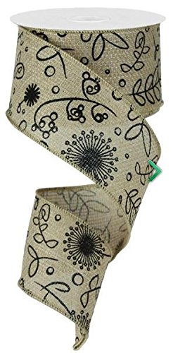 Flowers Plants Cross Royal Burlap Wired Edge Ribbon 10 Yards x 2.5