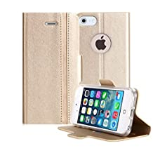 iPhone SE Case, iPhone 5S Case, iPhone 5 Case, FYY [Slim Fit] Premium PU Leather Wallet Case Protective Cover for Apple iPhone SE/5S/5 Gold