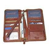 Family Passport & Document Case Italian Leather with RFID Shielding - Brown