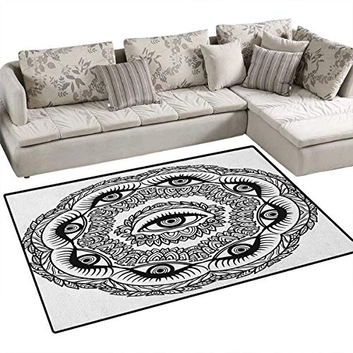 Occult,Carpet,Print in Abstract Floral Crown of Leaves Sticks with Eye of Providence Boho Symbol,Rug Kid Carpet,Black White Size:55