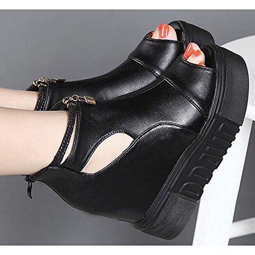 HSXZ Zapatos de mujer PU primavera otoño confort enredaderas Botas/botines botas de tobillo for casual negro Black