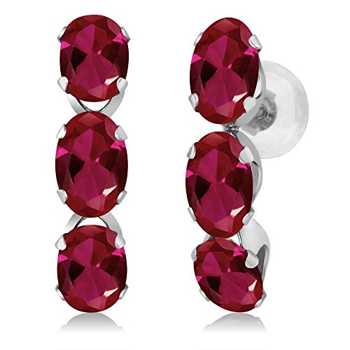Gem Stone King 3.00 Ct Oval Red Created Ruby 14K White Gold Earrings