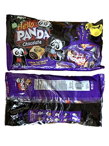 Hello Panda Chocolate Creme Filled Cookies with 10 Limited Edition Halloween Characters 2 Pack 40 pcs -