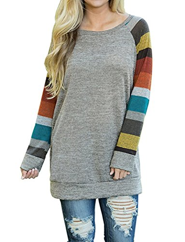 AUSELILY Women's Cotton Knitted Long Sleeve Lightweight Tunic Sweatshirt Tops (US6-8, Mulit)