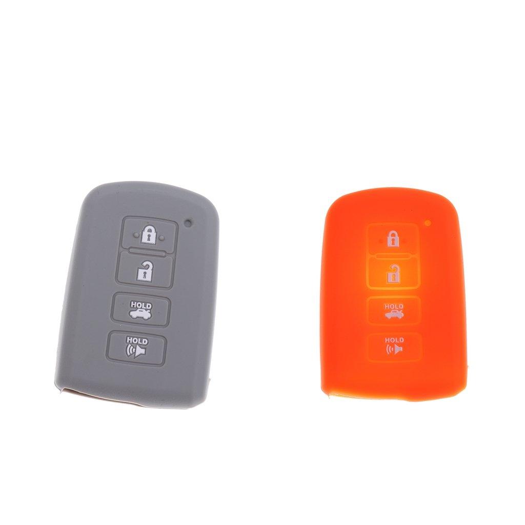 Homyl Pack of 2 Remote Keyless Entry Key Shell Fob Case for Toyota Orange & Gray