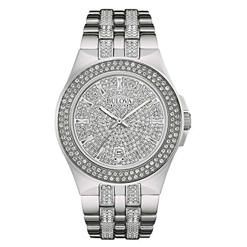 (Bulova Men's 96B235 Swarovski Crystal Stainless Steel Watch)