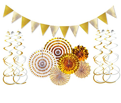 FECEDY Gold Shiny Banner Gold Paper Flower Fan and Swirls Streamer Set for Wedding Engagement Birthday Home Party Decorations