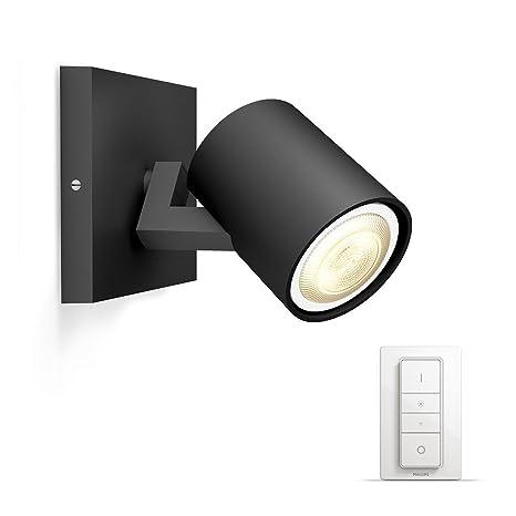 Philips Hue White ambiance Runner - Foco LED negro con mando, Iluminación inteligente, compatible con Amazon Alexa, Apple HomeKit y Google Assistant