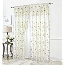 """Elegant Comfort Curtain/Window Panel Set With Attached Valance And Backing 55"""" X 84 """" (Set Of 2), Beige/Taupe"""
