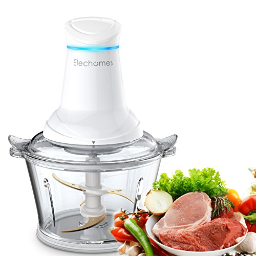 Food Chopper - Elechomes Wide Mouth Glass Bowl Food Processor with 4 Titanium Coated S-blades, 2 Speeds Option