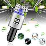 Delaman Car Air Freshener 2 in 1 Anion Air Purifier Diffusers, Dual 2.1A USB Charger Port