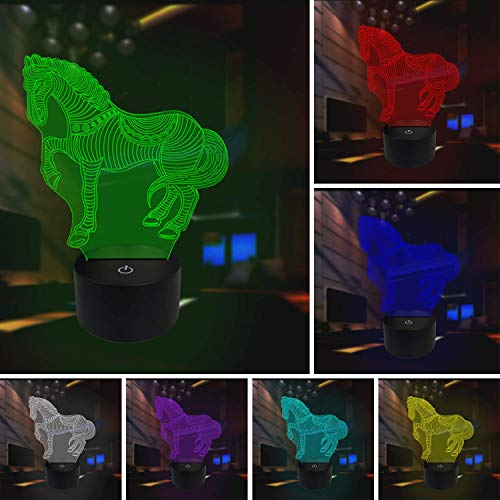 Animals War Horse 3D Night Light,3D Night Light Table Desk Lamp 7 Colors Optical Illusion Touch Control Lights with Acrylic Flat & ABS Base & USB Cable ()