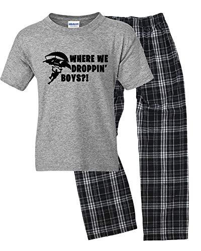 Where We Droppin Boys?! Boys Loungewear Set (Youth Large, Grey/Black)
